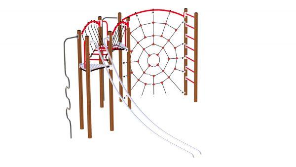 rød og brun klatreapparat til lekeplassen