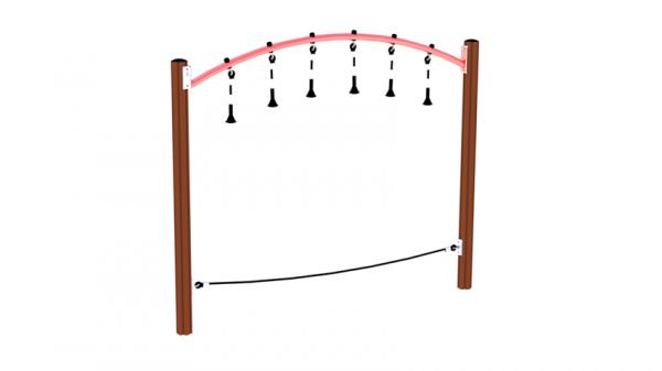 Balanse med armgang med brun stolpe og rød overligger