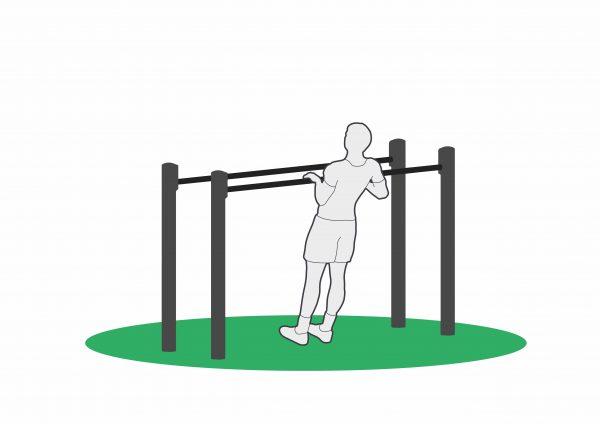 Øvelse bodyweight row stopp posisjon på dip high