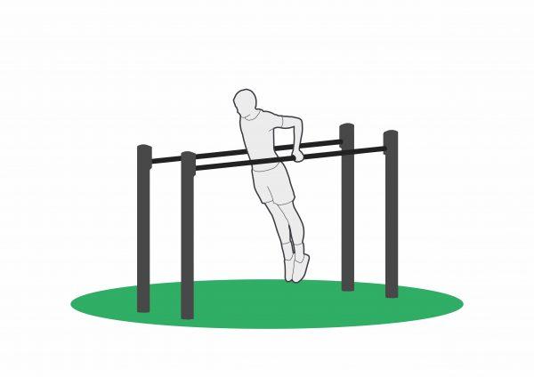 Trening på dip high apparat stopp posisjon
