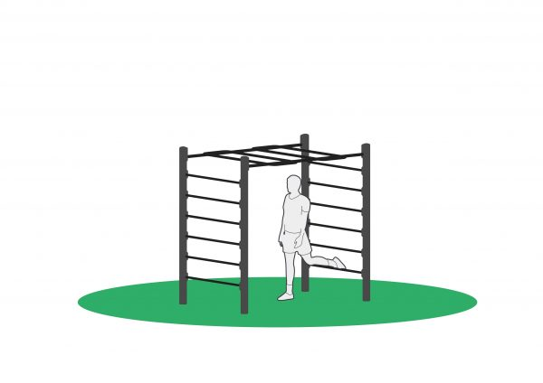 Bulgarsk utfall startposisjon i monkeybar beregnet for utendørs trening