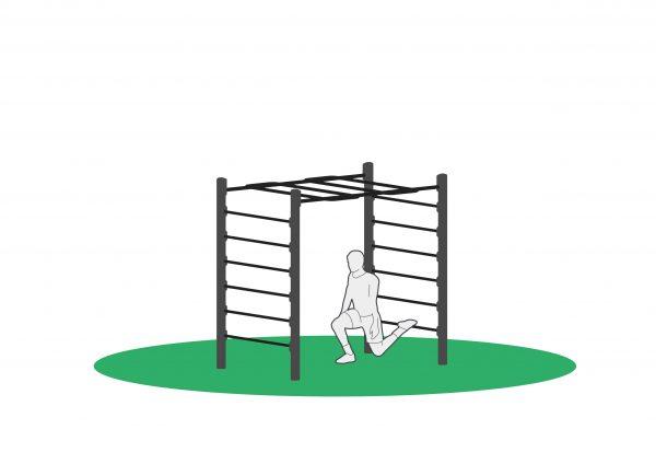 Bulgarsk utfall sluttposisjon i monkeybar beregnet for utendørs trening