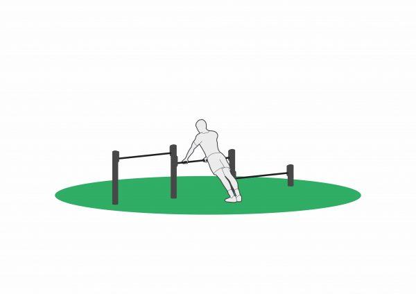 Push up på stang i treningsapparat for utendørs trening