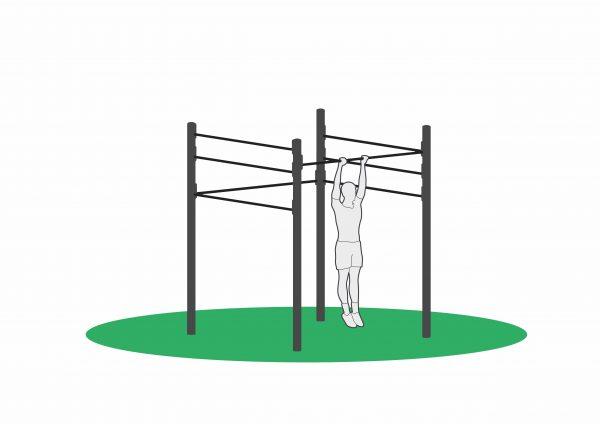 Utendørs treningsapparater hvor man kan gjøre mange øvelser, som feks kneløft