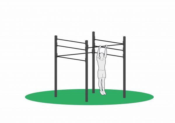 Utendørs treningsapparat hvor man kan trene pull ups og mange flere øvelser