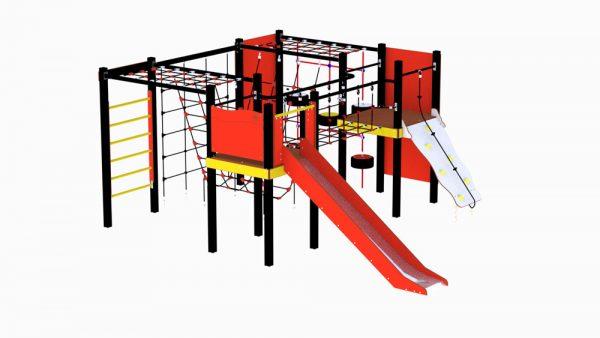 Lekeseksjon for lekeplassen med ribbevegg, rutsjebane og opptrekksplate med mer