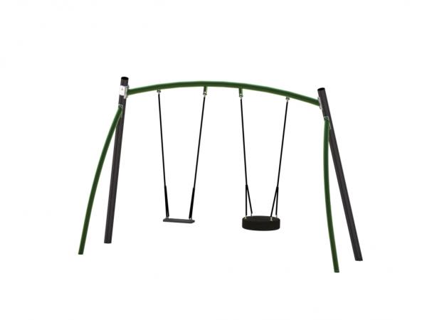 huskestativ med plass for to seter i grå og grønn