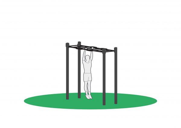 Pull ups i utendørs treningsapparat