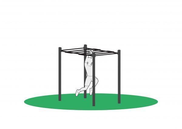 Armgang i mokneybar for utendørs trening. Sett sammen en løype og tren kondisjon samtidig som du trener styrke