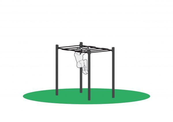 Kneløft i utendørs treningsapparat. Sett sammen som løype og tren mange muskelgrupper i en og samme økt