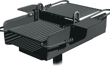 Dobbel grill 50 cm med trinnløs og justerbar grillrist