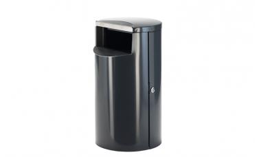 Grå avfallsbeholder i pulverlakkert og rustfritt stål. Volum 60 liter