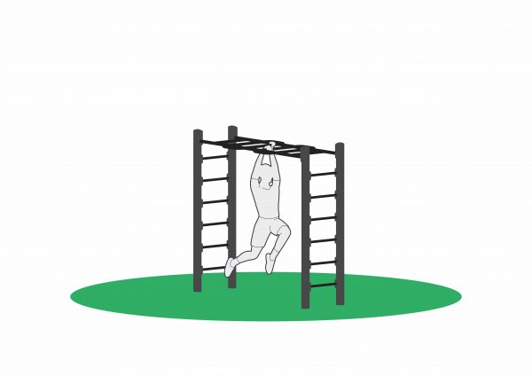 Armgang for utendørstrening. Trener skuldre, biceps, rygg og mage