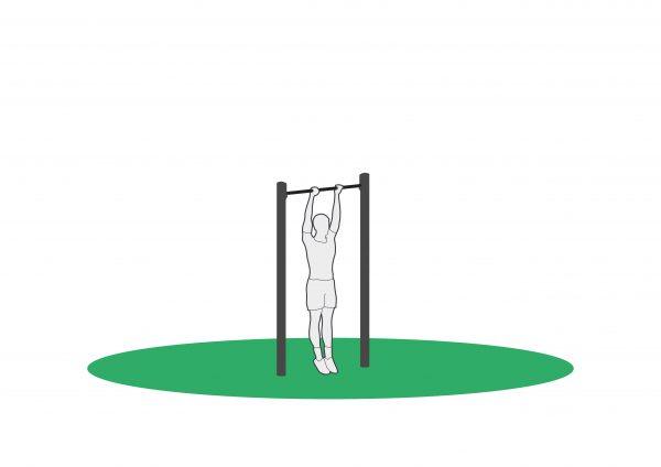Muscle up på pullup stang for utendørs trening