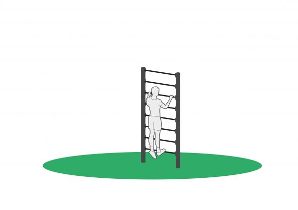 Tren tåhev i ribbevegg beregnet for utendørs trening