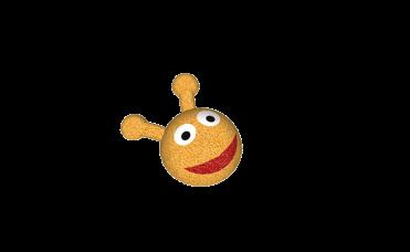 Larvehode gul med munn og øyner i 3D