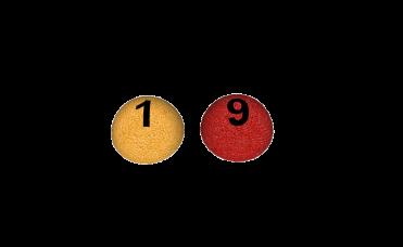 halvkuler med tall rød og gul