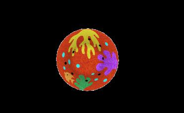coralrev i 3D for lekeplassen rød, gul, lilla og orange