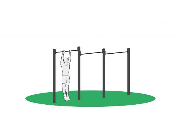 Kneløft i pull-up stang for å trene mage, øvre del av rygg og skuldre