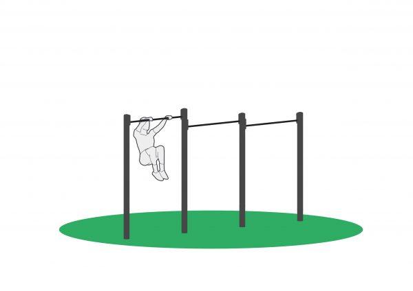Kneløft i monkeybar for å trene mage, øvre del av rygg og skuldre