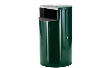 mørkegrønn avfallsbeholder med volum 60 liter i rustfritt stål