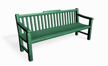 Grønn Båstad benk monteres frittstående eller støpes i bakken