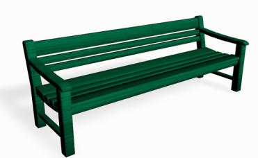 Grønn parkbenk i furu som kan stå frittstående eller nedstøpes