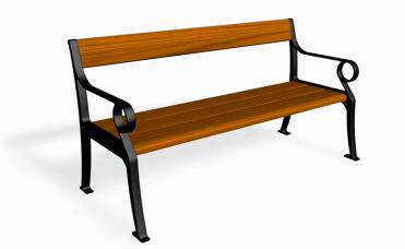 Paus benk med sitteplasser for to eller flere. Materiale Furu og støpt aluminium