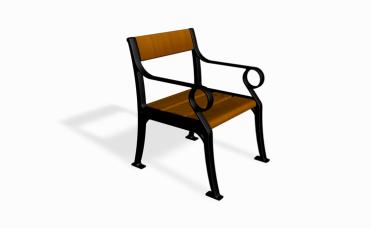 Klasisk parkstol frittstående i Furu og støpt aluminium