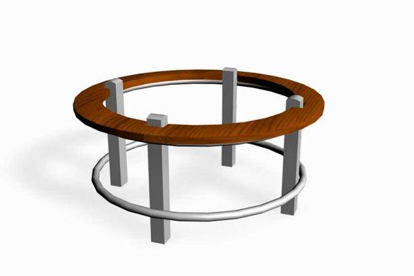 Urban rekkverk sirkel med sitteplanke