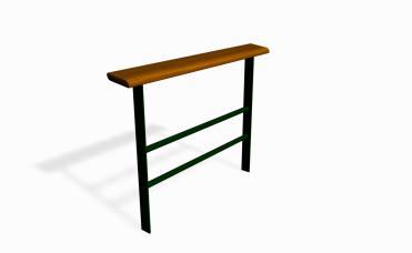 Stå-rekkverk med sitteplanke med en lengde på 150 cm