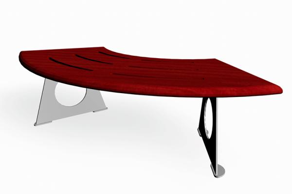 Kvartsrund benk i furu som kan brukes både innen og utendørs.