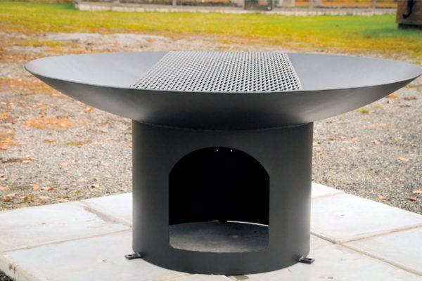 Stål grill i sort stål med grillrist