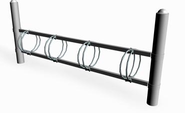 dobbeltsidig sykkelstativ 900 mm høyt i pulverlakkert stål
