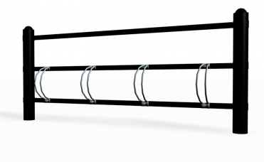 Enkeltsidig sykkelstativ i pulverlakkert stål