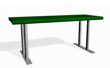 frittstående parkbord i furu og pulverlakkert stål