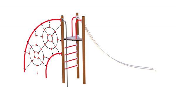 Rød og brun klatreseksjon med slider til lekeplassen