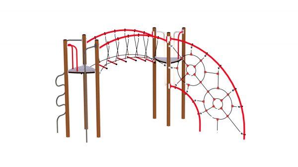 KLatreseksjon med klatrenett, bro og slider