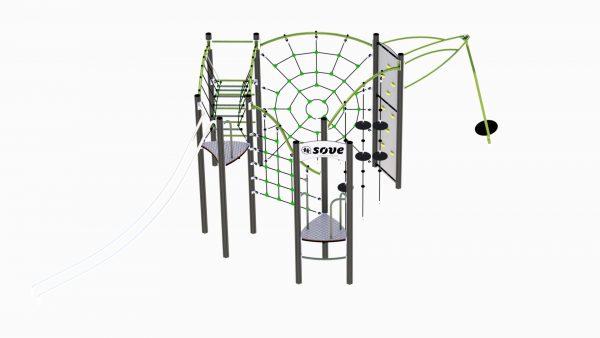 Klatreapparat for lekeplassen med slider og snurre