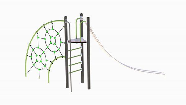Grønn og grå lifjell klatreseksjon med nett og stige
