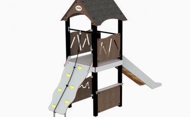Hogga lekehus med opptreksplate og rutsjebane