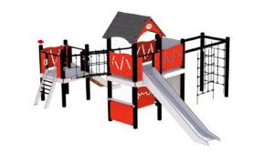 Rød lekeapparat med rutsjebane, klatrenett og lekehus under