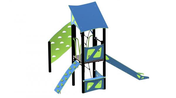Lekehus blå og pistasj med rustjebane og klatrevegg