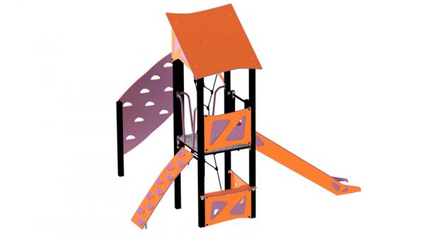 Lekehus oransje og lilla med rustjebane og klatrevegg