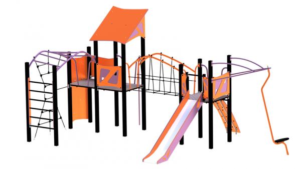oransje og lilla Saturn med utallige lekefunksjoner som klatrenett, rutsjebane og snurrestang med mer