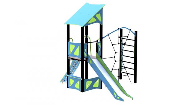Lekeseksjon pistasj og blå med lekehus, tårn med mer