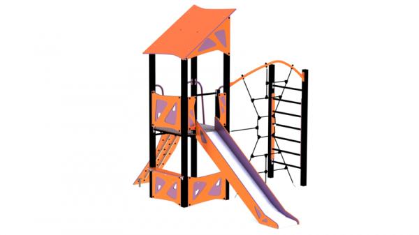 Lekeseksjon oransje og lilla med lekehus, tårn med mer