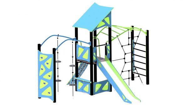 Blå og pistasj farget lekeseksjon med rutsjebane, klatrevegg, klatrenett med mer