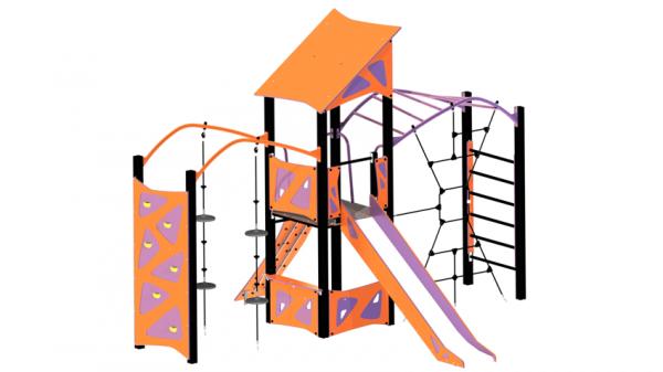 oransj og lilla lekeseksjon med rutsjebane, klatrevegg, klatrenett med mer