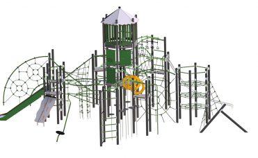 Thorium Lantan klatreseksjon med aktiviteter som slider, rutsjebane, tårn, ulike nett med mer